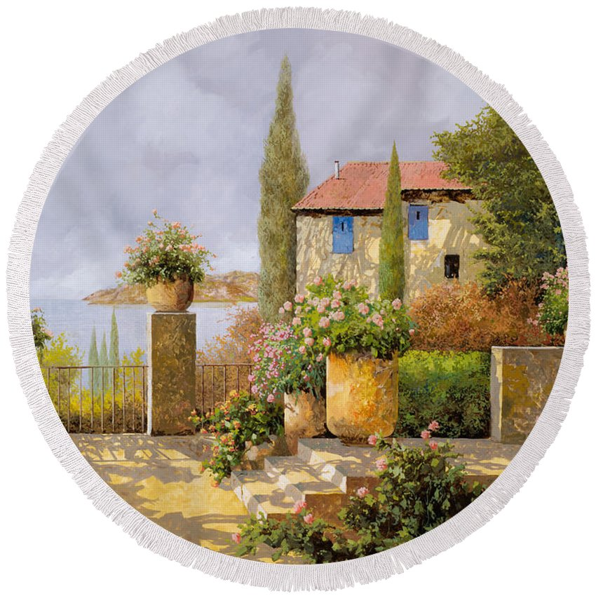 Terrace Round Beach Towel featuring the painting Uno Sguardo Sul Mare by Guido Borelli