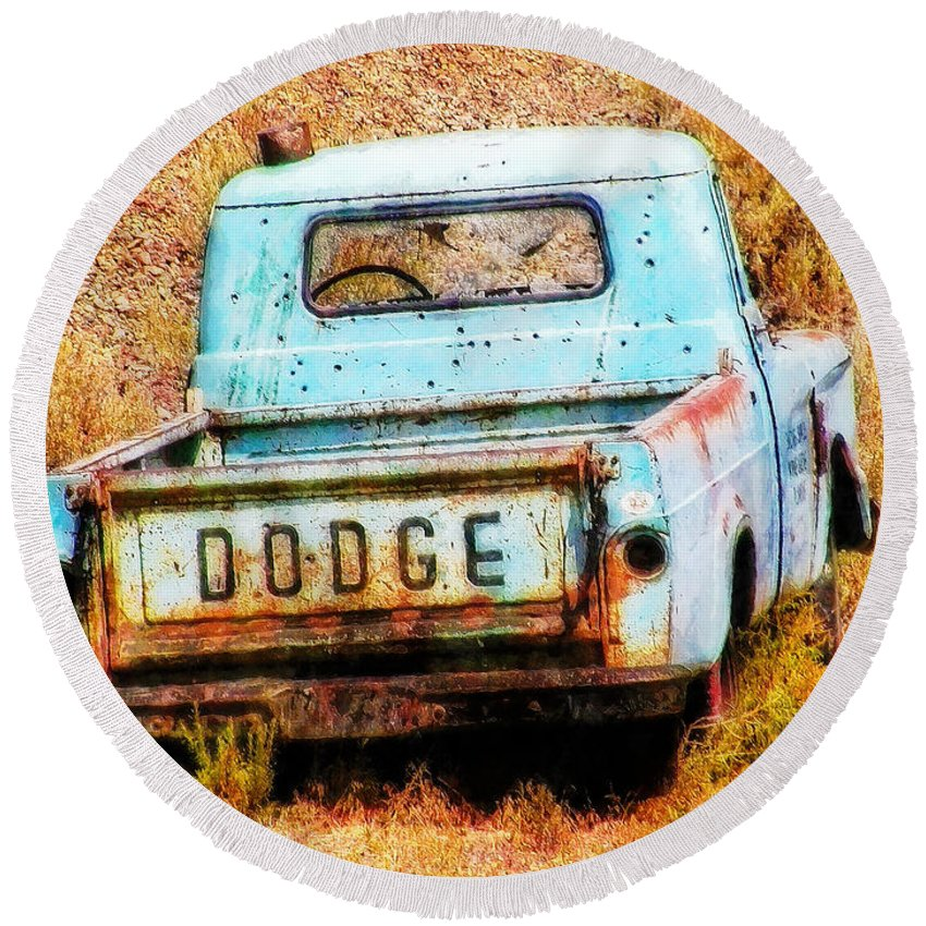 Dodge Round Beach Towel featuring the painting Unsuccessful Dodge by Sandy MacGowan