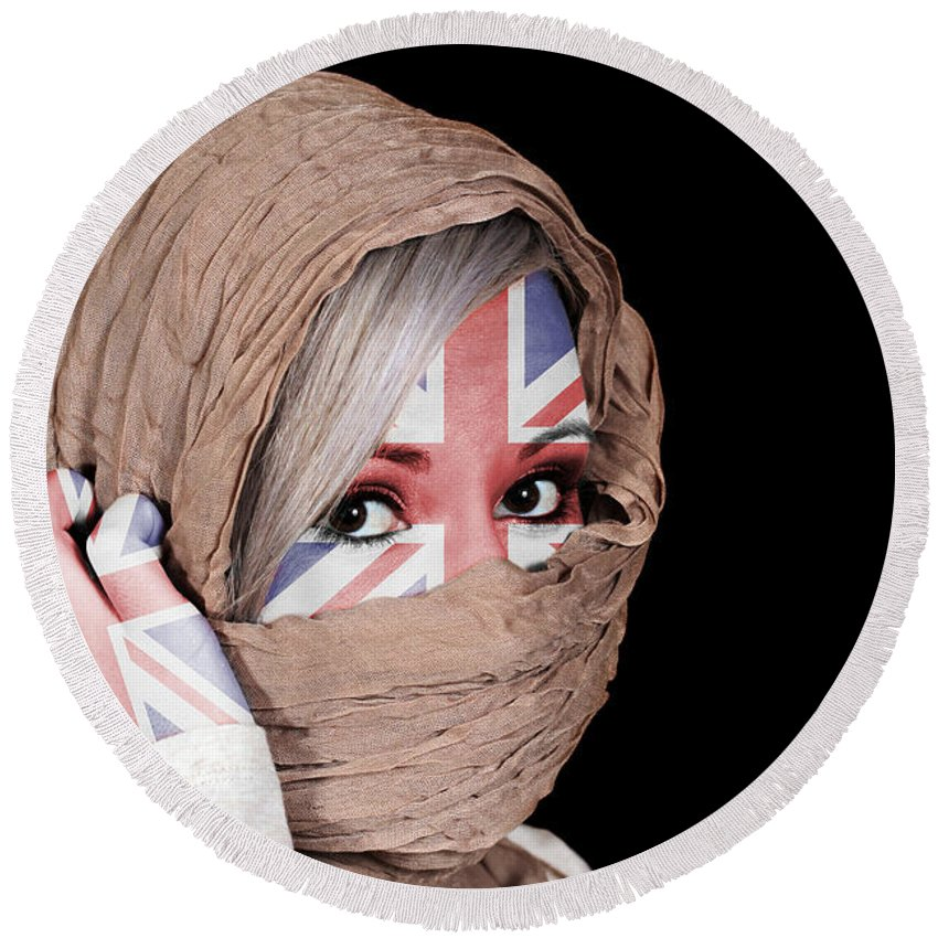 Headscarf Round Beach Towel featuring the photograph Untied Kingdom by Paul Fell