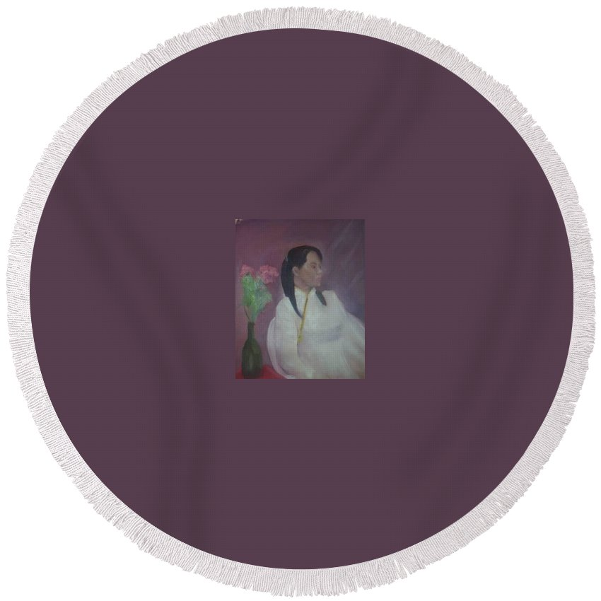 Woman Round Beach Towel featuring the painting Untitled #2 by Sheila Mashaw
