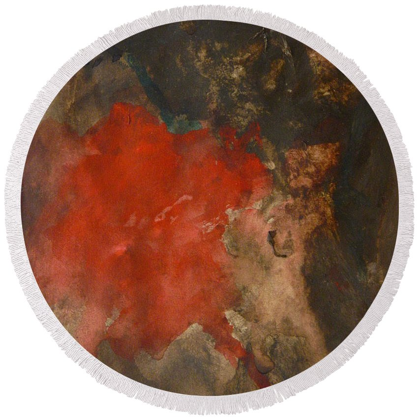 Painting Round Beach Towel featuring the painting Untitled Abstract - Umber With Scarlet by Kathleen Grace
