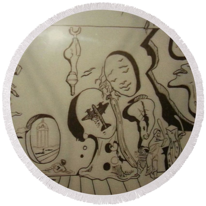 Round Beach Towel featuring the drawing Untitled by Jude Darrien