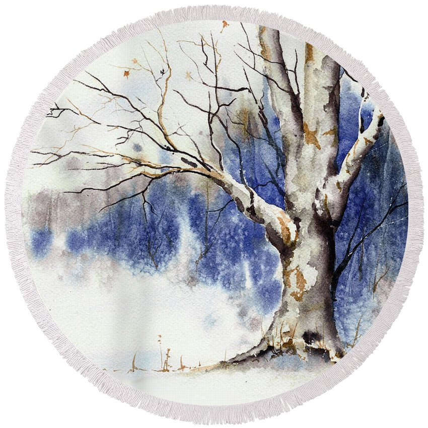 Tree Round Beach Towel featuring the painting Untitled Winter Tree by Sam Sidders