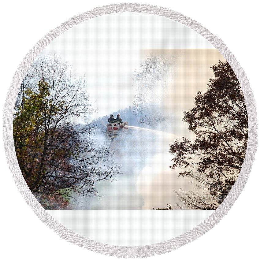 Fire Round Beach Towel featuring the photograph Up In Smoke by Eric Liller