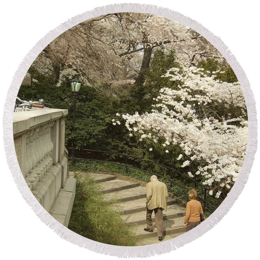 Round Beach Towel featuring the photograph Up The Cherry Steps by Katerina Naumenko