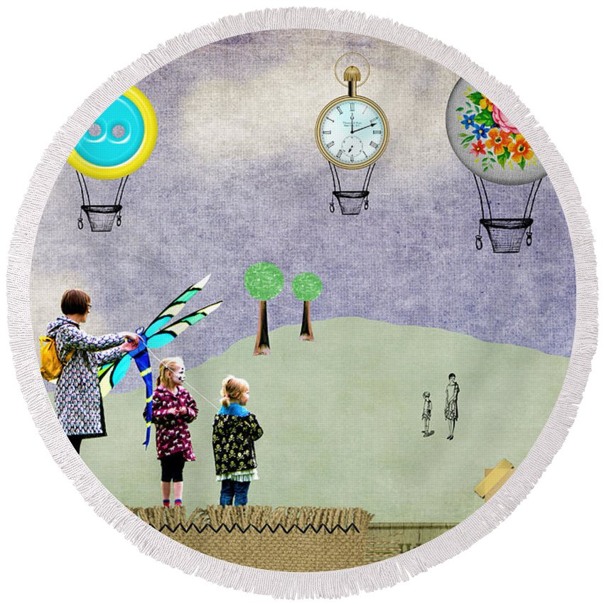 Up Round Beach Towel featuring the photograph Up Up And Away by Gillian Singleton