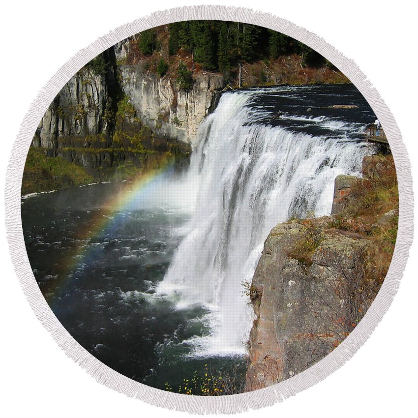 Waterfall Round Beach Towel featuring the photograph Upper Mesa Falls Idaho by Robert Woodward