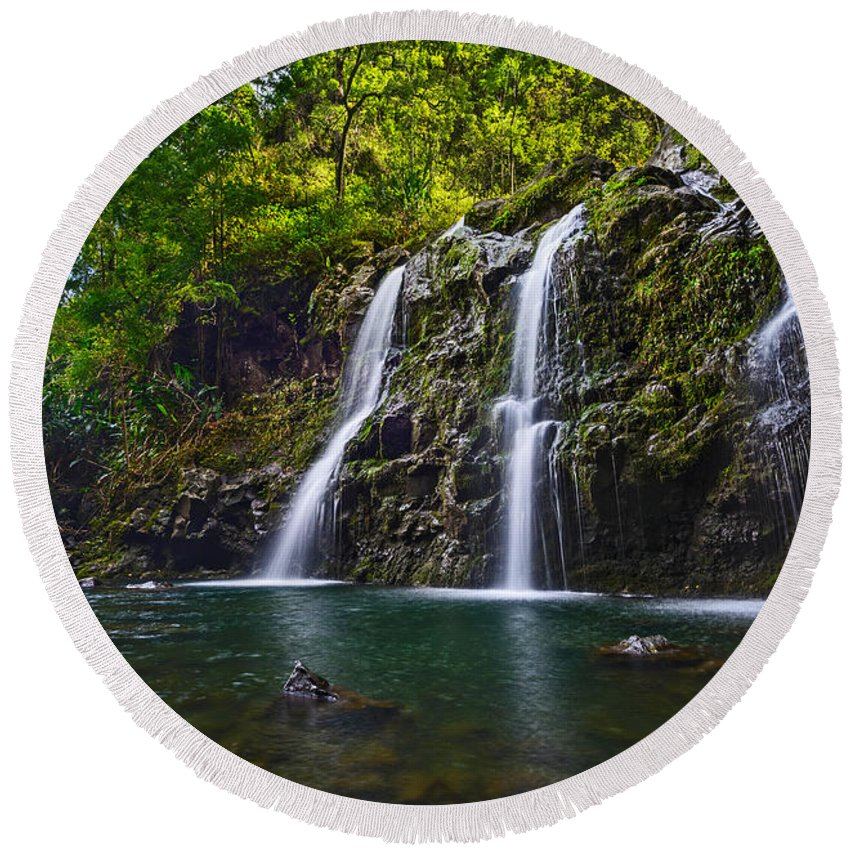 Water Fall Photographs Round Beach Towels