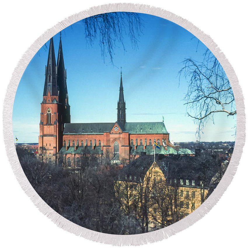 Cathedral Cathedrals Uppsala Sweden Church Churches City Cities Cityscape Cityscape Building Buildings Structure Structures Architecture Steeple Steeples Place Places Of Worship Round Beach Towel featuring the photograph Uppsala Cathedral by Bob Phillips