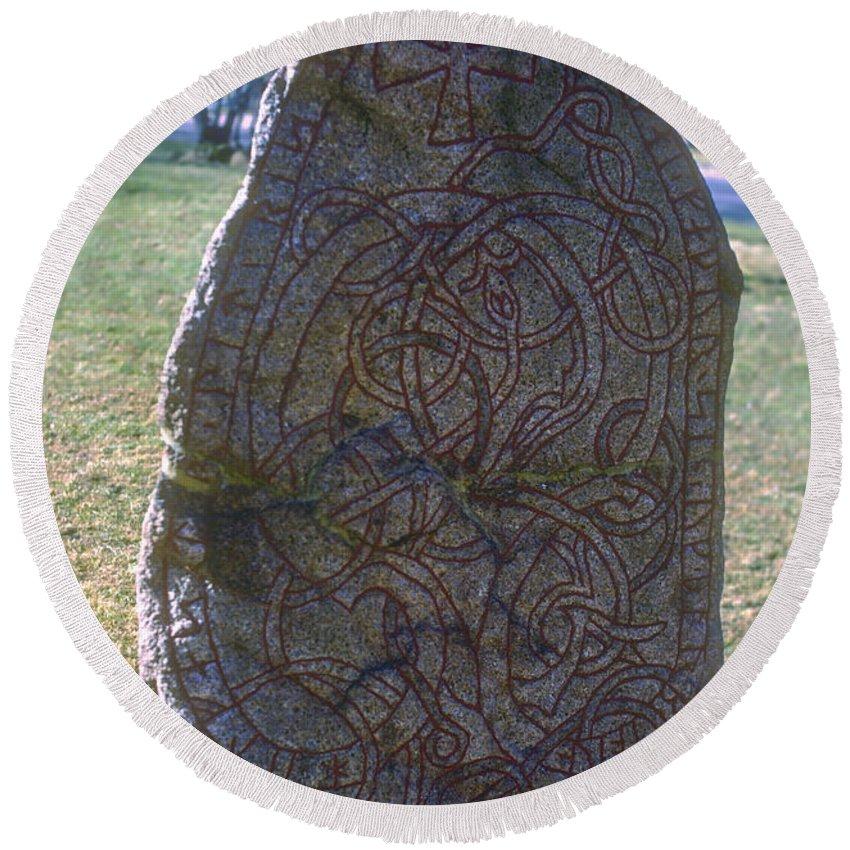 Runestone Runestones Uppsala Sweden Decorated Stones Stone Odds And Ends Round Beach Towel featuring the photograph Uppsala Runestone by Bob Phillips
