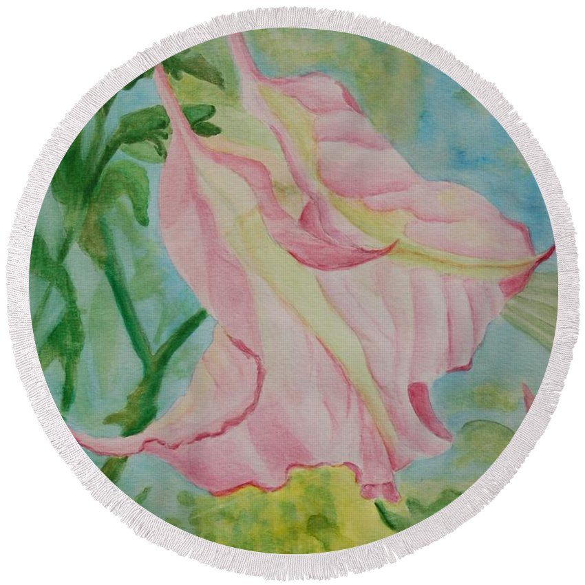 Linda Brody Round Beach Towel featuring the painting Upside Down Watercolor by Linda Brody
