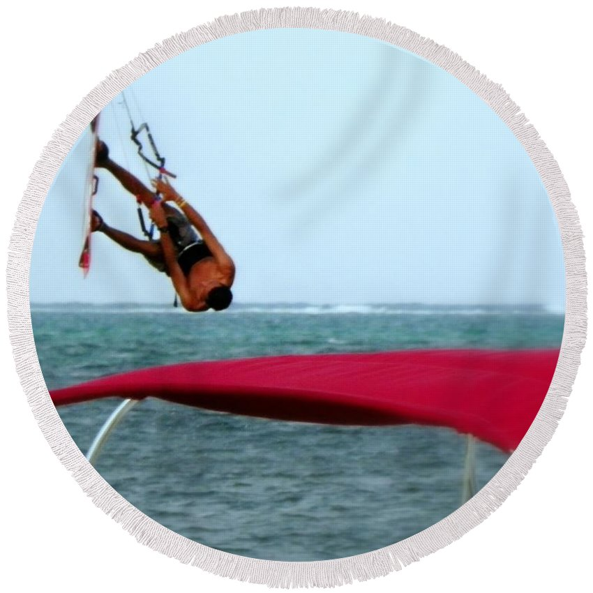 Wind Surfing Round Beach Towel featuring the photograph Upside Down World by Karen Wiles