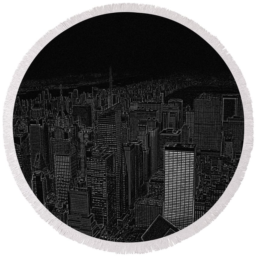 Nyc Round Beach Towel featuring the digital art Uptown Nyc White On Black by Meandering Photography