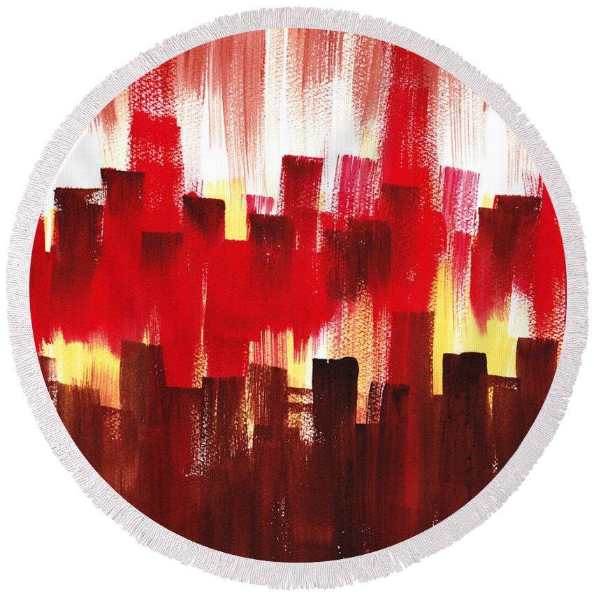 Abstract Round Beach Towel featuring the painting Urban Abstract Evening Lights by Irina Sztukowski