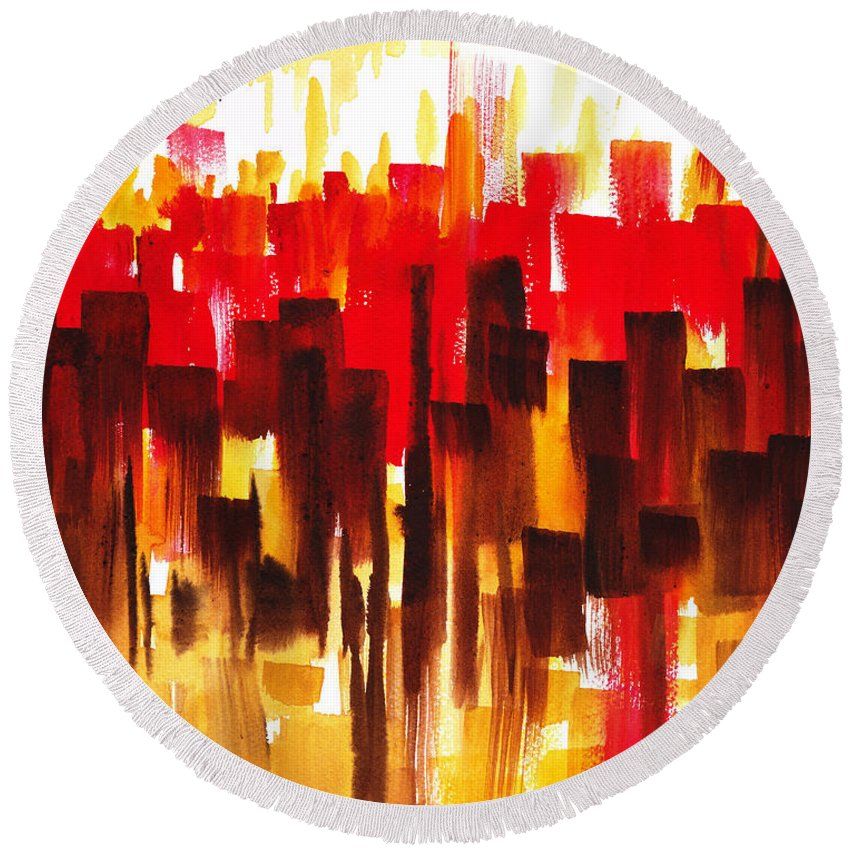 Abstract Round Beach Towel featuring the painting Urban Abstract Glowing City by Irina Sztukowski