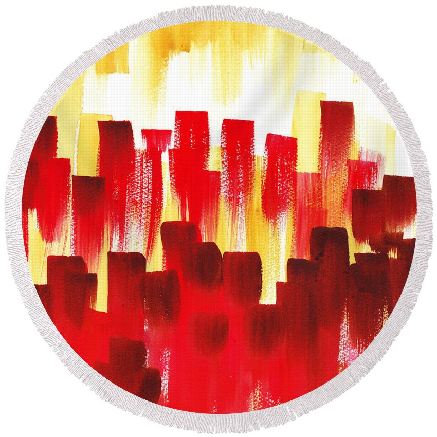 Abstract Round Beach Towel featuring the painting Urban Abstract Red City Lights by Irina Sztukowski