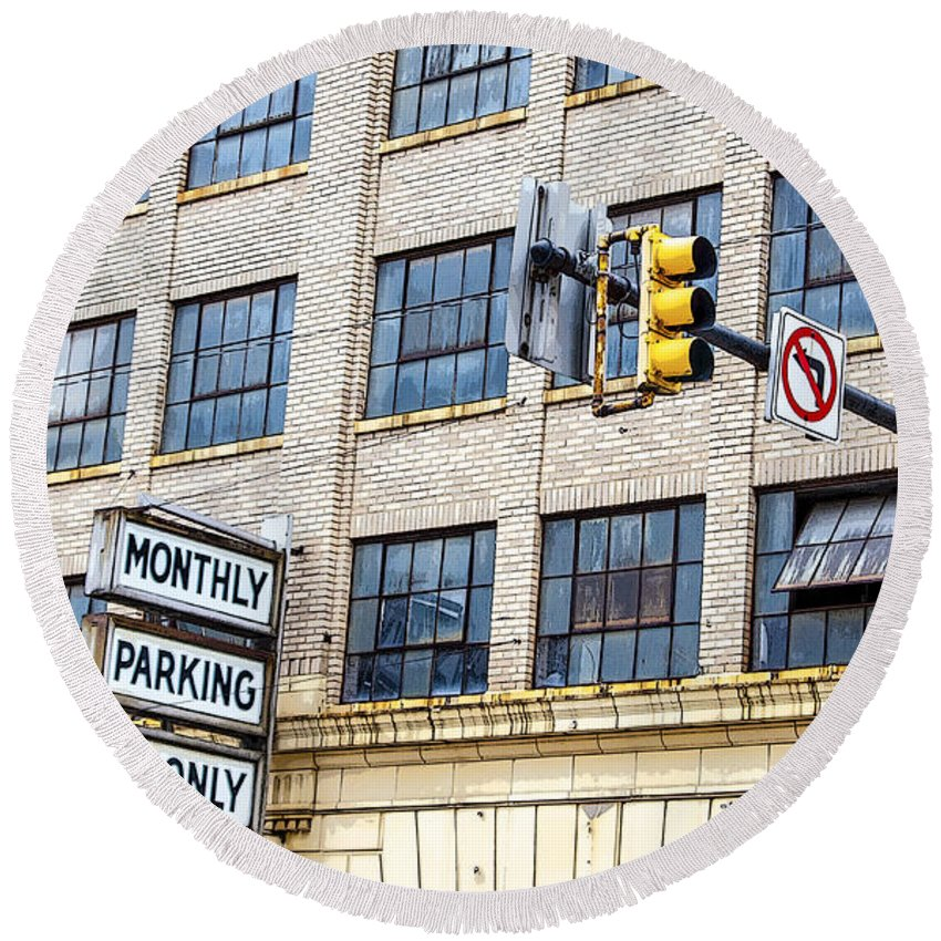 Information Medium Round Beach Towel featuring the photograph Urban Garage Monthly Parking Only by Janice Pariza