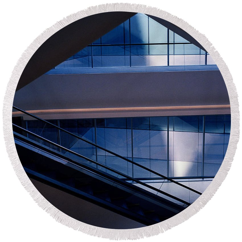 Modern Architecture Round Beach Towel featuring the photograph Urban Geometry by Shaun Higson