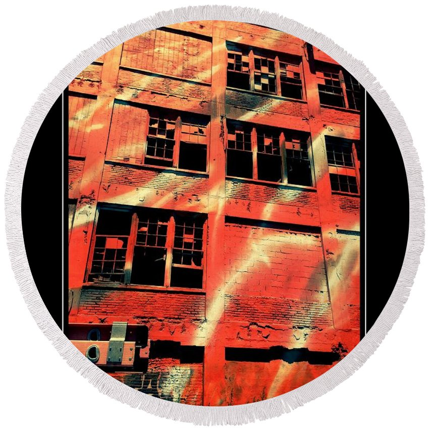 City Round Beach Towel featuring the photograph Urban Orange by Alice Gipson