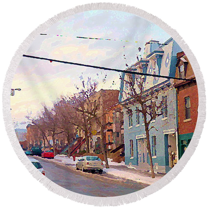 Pointe St Charles Round Beach Towel featuring the painting Urban Winter Landscape Colors Of Quebec Cold Day Pointe St Charles Street Scene Montreal by Carole Spandau