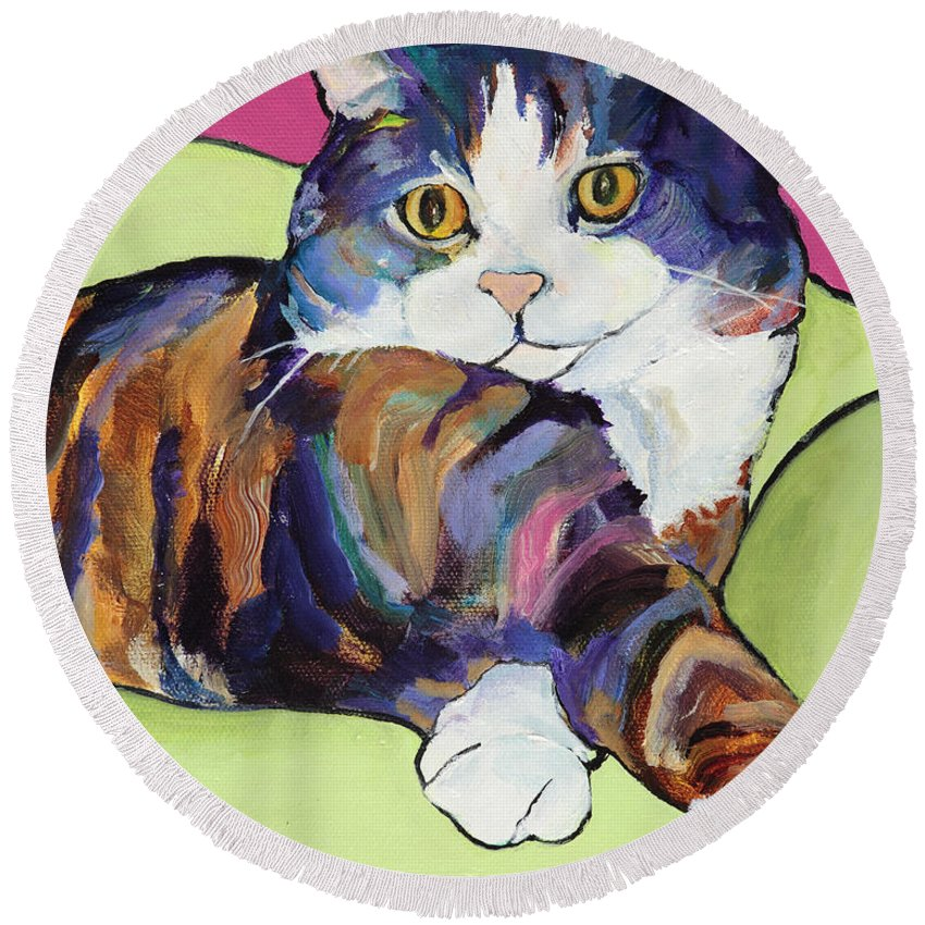 Pat Saunders-white Canvas Prints Round Beach Towel featuring the painting Ursula by Pat Saunders-White