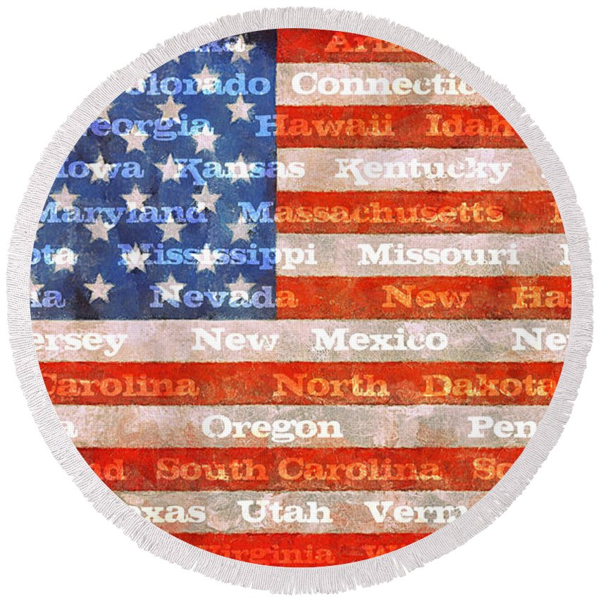Flag Round Beach Towel featuring the photograph Us Flag With States by Michelle Calkins