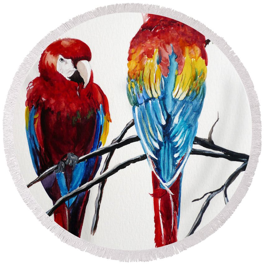 Macaws Round Beach Towel featuring the painting Us Friends by Karin Dawn Kelshall- Best