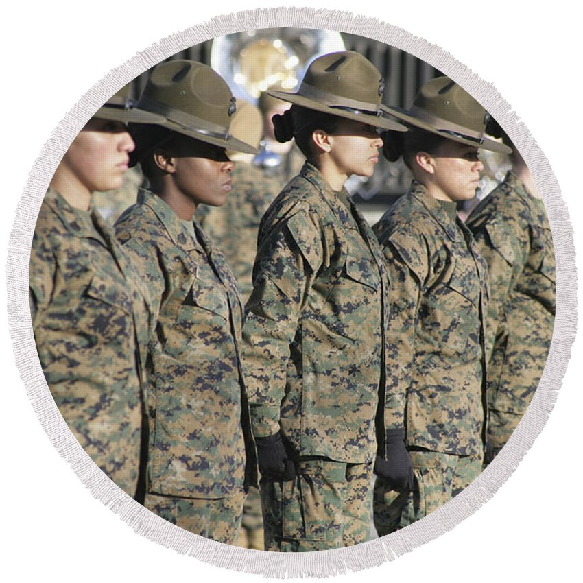 Anniversary Round Beach Towel featuring the photograph U.s. Marine Corps Female Drill by Stocktrek Images