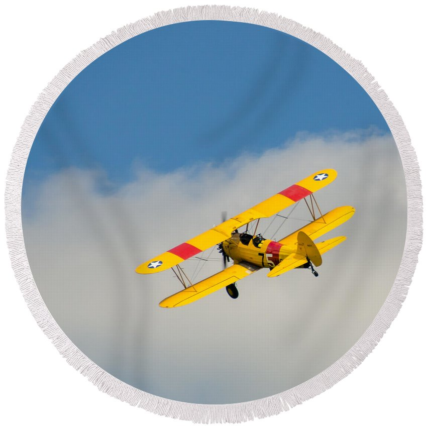 Aviation Round Beach Towel featuring the photograph Us Navy N2s-5 by Guy Whiteley
