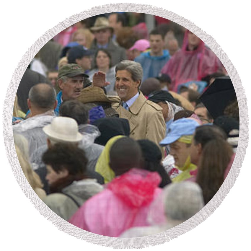 Photography Round Beach Towel featuring the photograph U.s. Senator John Kerry, Amidst by Panoramic Images