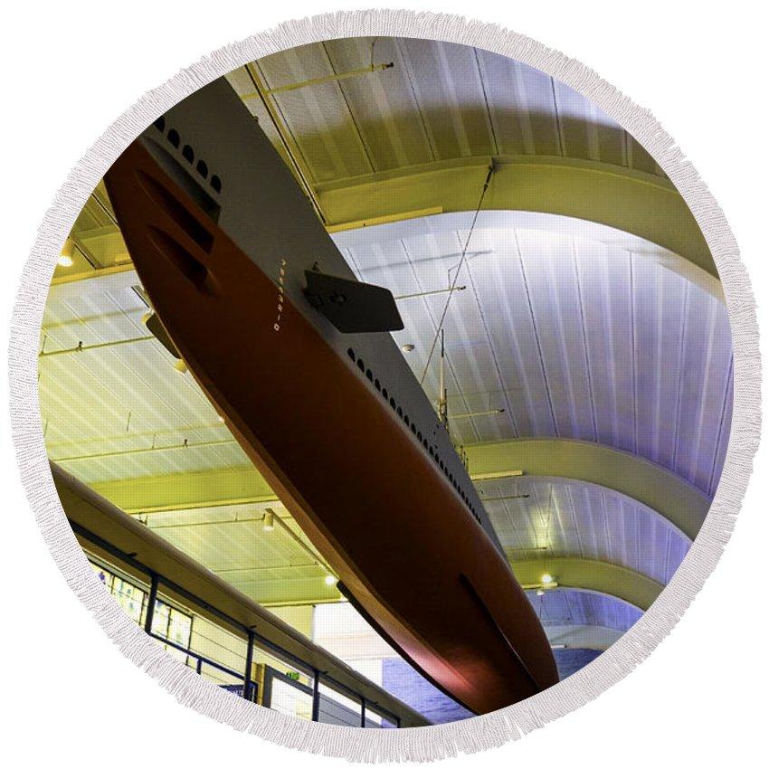 Submarine Round Beach Towel featuring the photograph U.s. Submarine Museum 4 by Joe Geraci
