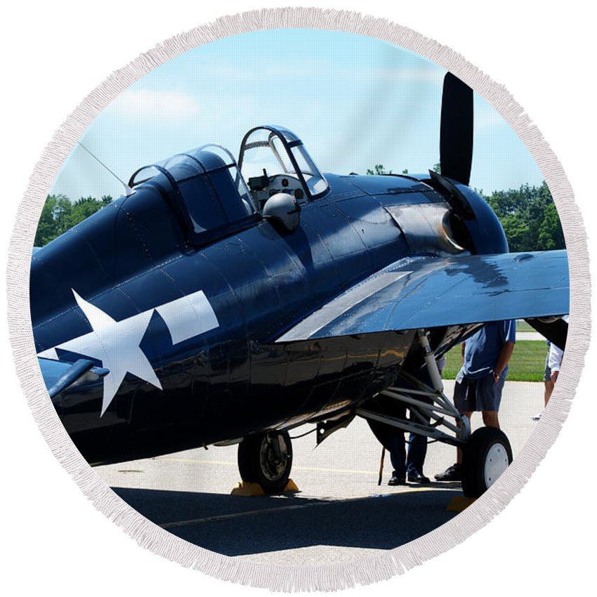 Old Round Beach Towel featuring the photograph Us Ww II Fighter Plane by Thomas Woolworth