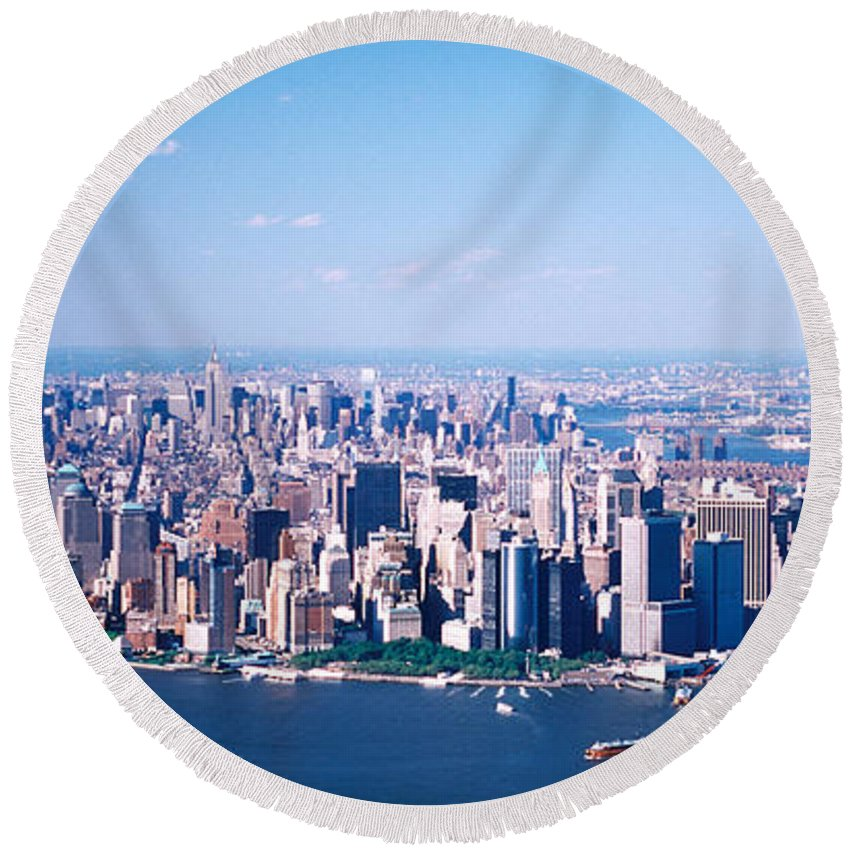 Photography Round Beach Towel featuring the photograph Usa, New York, Lower Manhattan, Aerial by Panoramic Images