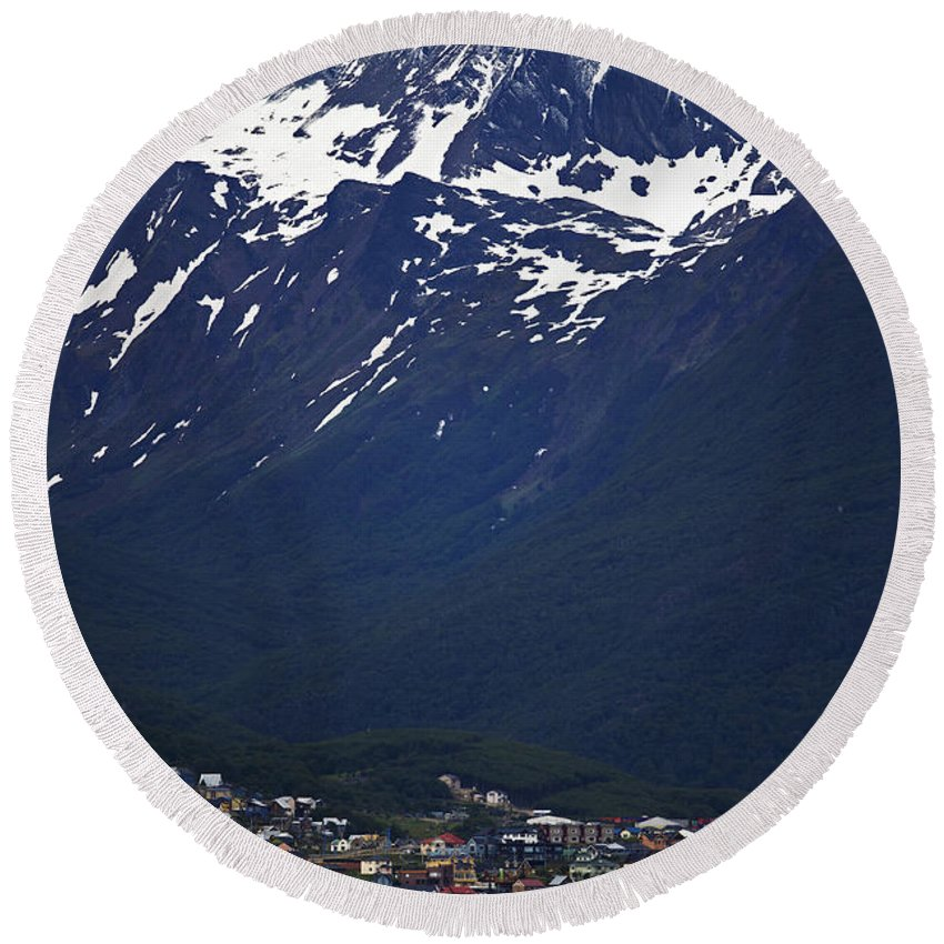 Festblues Round Beach Towel featuring the photograph Ushuaia.... by Nina Stavlund