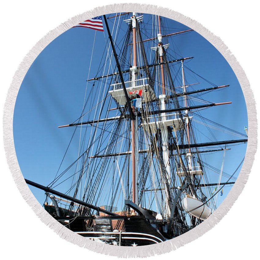 Uss Constitution Round Beach Towel featuring the photograph Uss Constitution by Kristin Elmquist