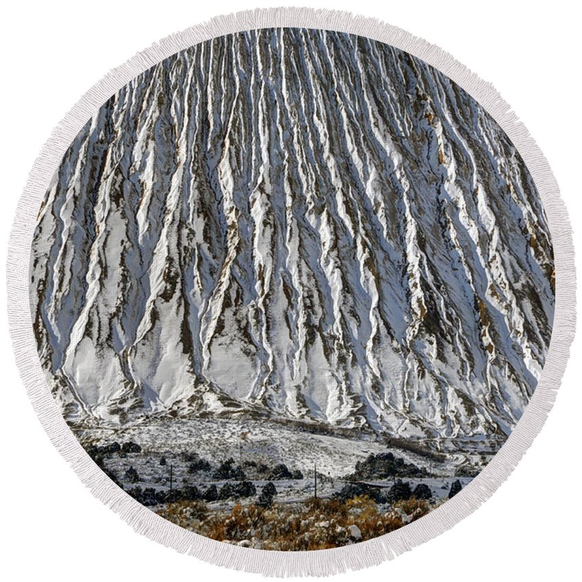 Utah Round Beach Towel featuring the photograph Utah Copper Mine Tailings Pile In Winter by Gary Whitton