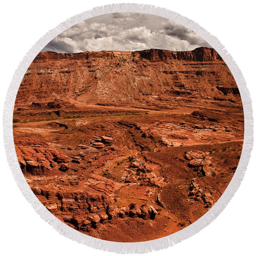 Landscape Round Beach Towel featuring the photograph Utah Rocks by Robert Bales