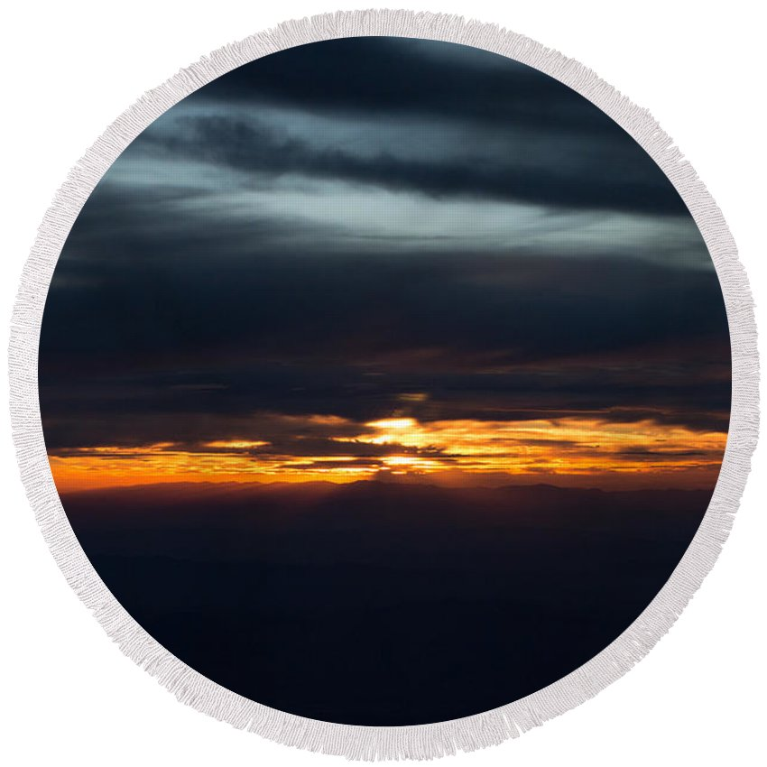 Aerial Round Beach Towel featuring the photograph Utah Sunset by John Daly