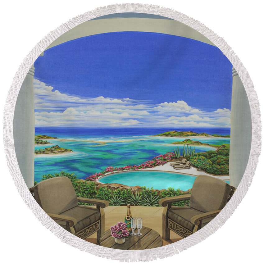 Ocean Round Beach Towel featuring the painting Vacation View by Jane Girardot