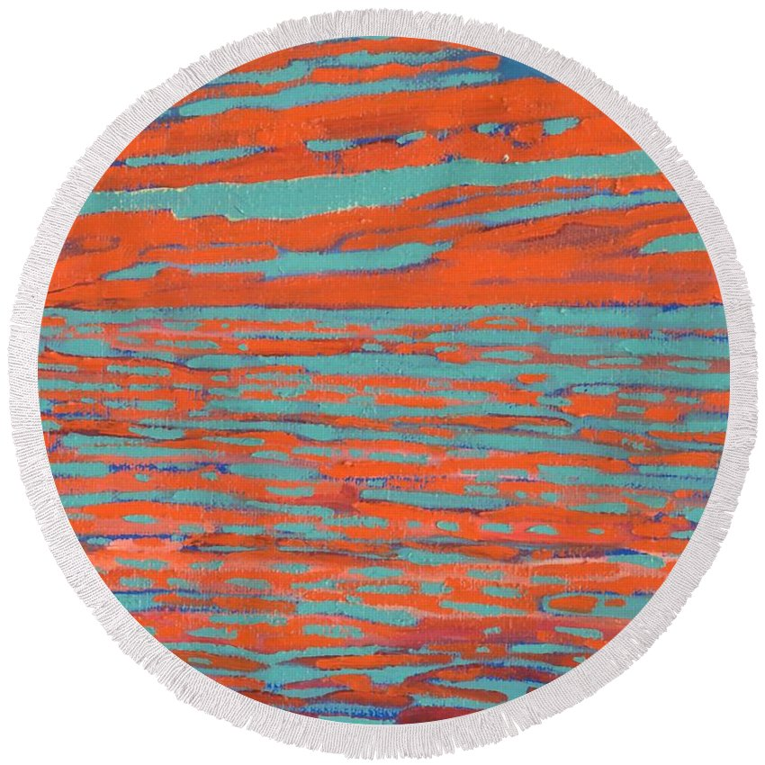 Sunset Round Beach Towel featuring the painting Valdy Sunset by Phil Chadwick