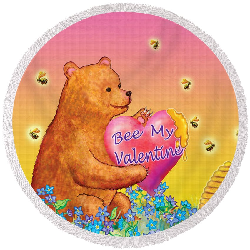 Valentine Baby Bear Round Beach Towel featuring the painting Valentine Baby Bear by Teresa Ascone