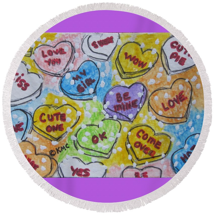 Valentine Round Beach Towel featuring the painting Valentine Candy Hearts by Kathy Marrs Chandler