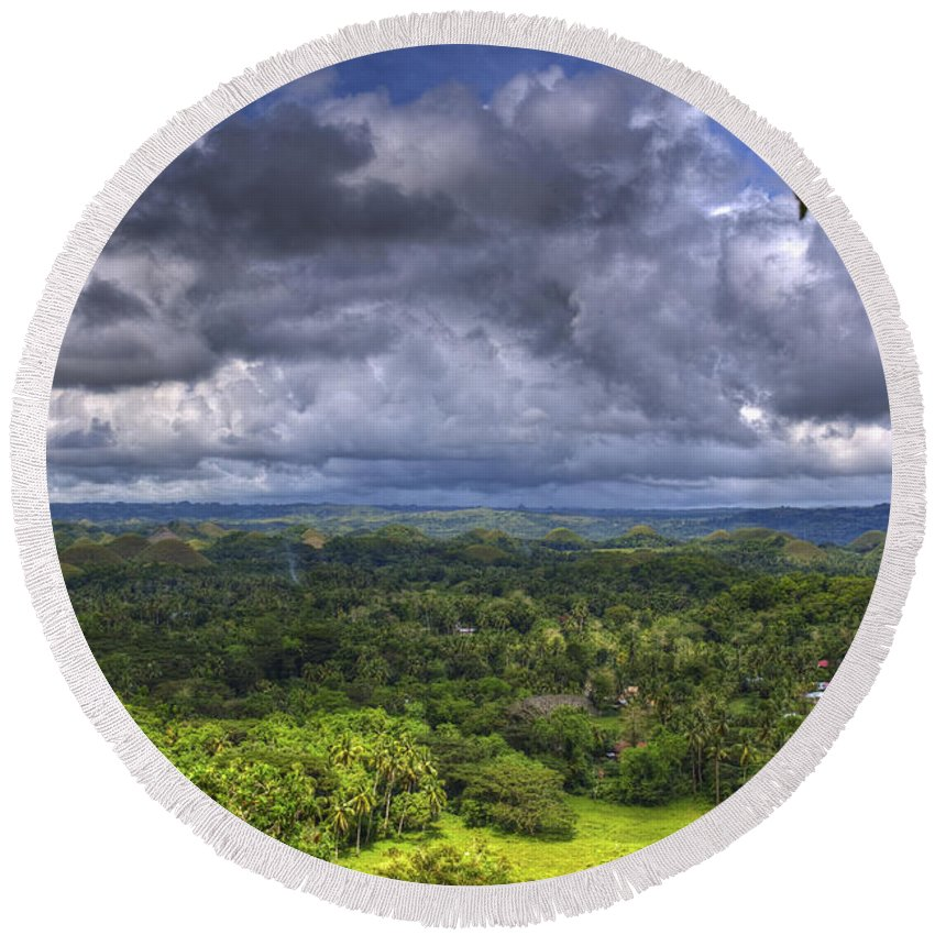 Chocolate Hills Round Beach Towel featuring the photograph Valley At Chocolate Hills by Darren Burton