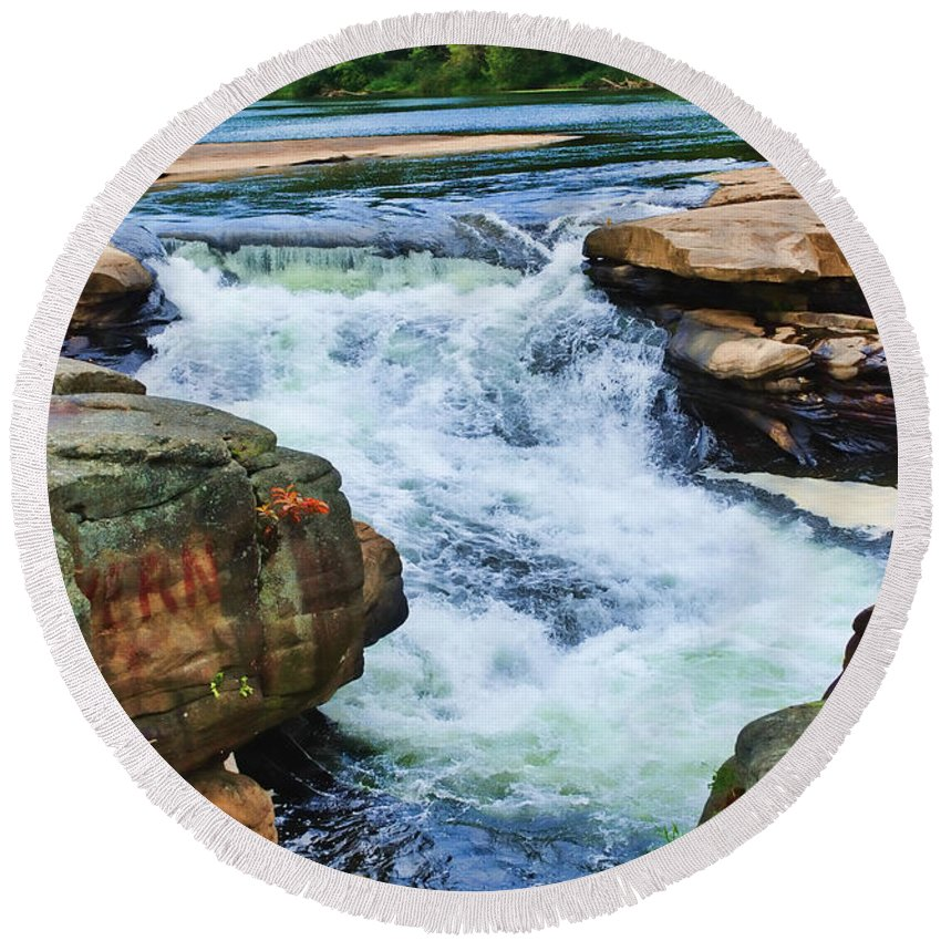 Valley Falls Round Beach Towel featuring the digital art Valley Falls by Anita Hubbard