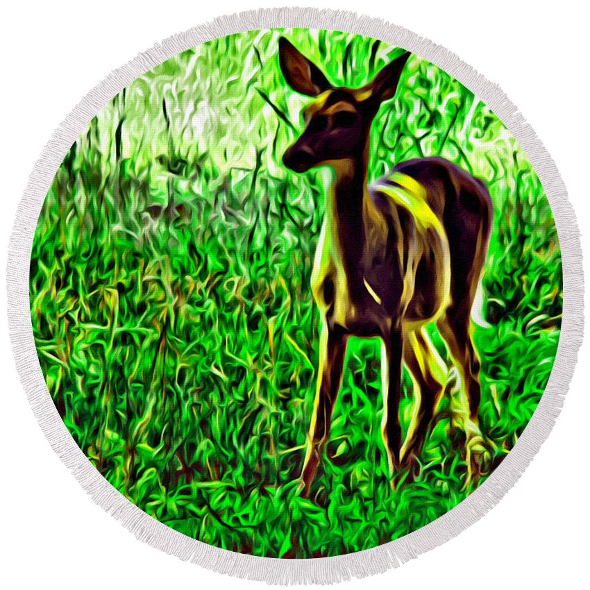 Deer Valley Forge Forest Round Beach Towel featuring the photograph Valley Forge Deer by Alice Gipson