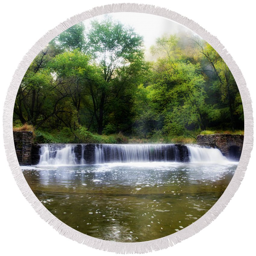 Valley Round Beach Towel featuring the photograph Valley Forge Pa - Valley Creek Waterfall by Bill Cannon