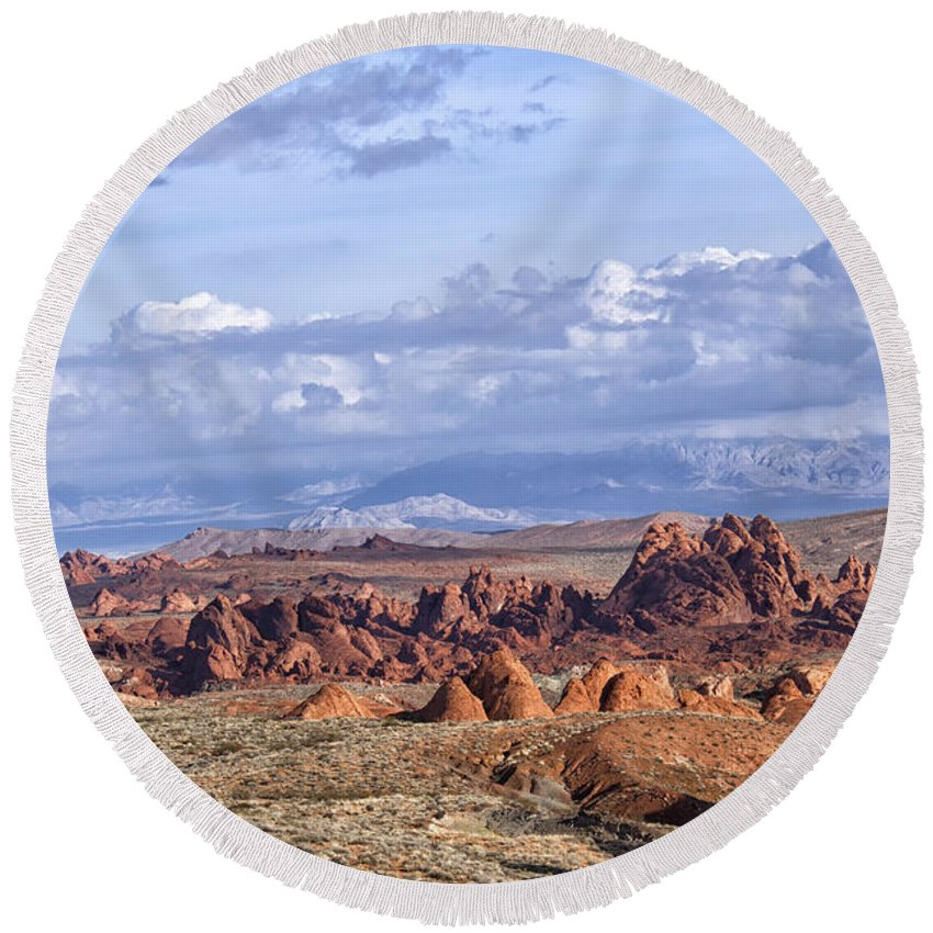 Valley Of Fire Round Beach Towel featuring the photograph Valley Of Fire Vista by Debby Richards