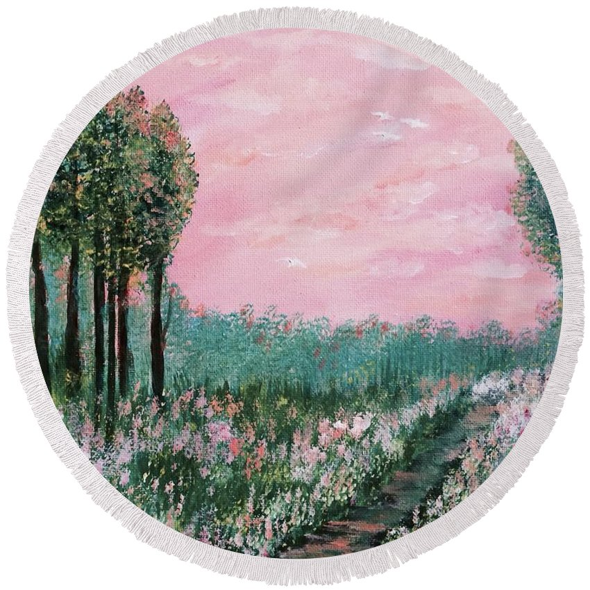 For Traditional House Round Beach Towel featuring the painting Valley Of Flowers by Suniti Bhand