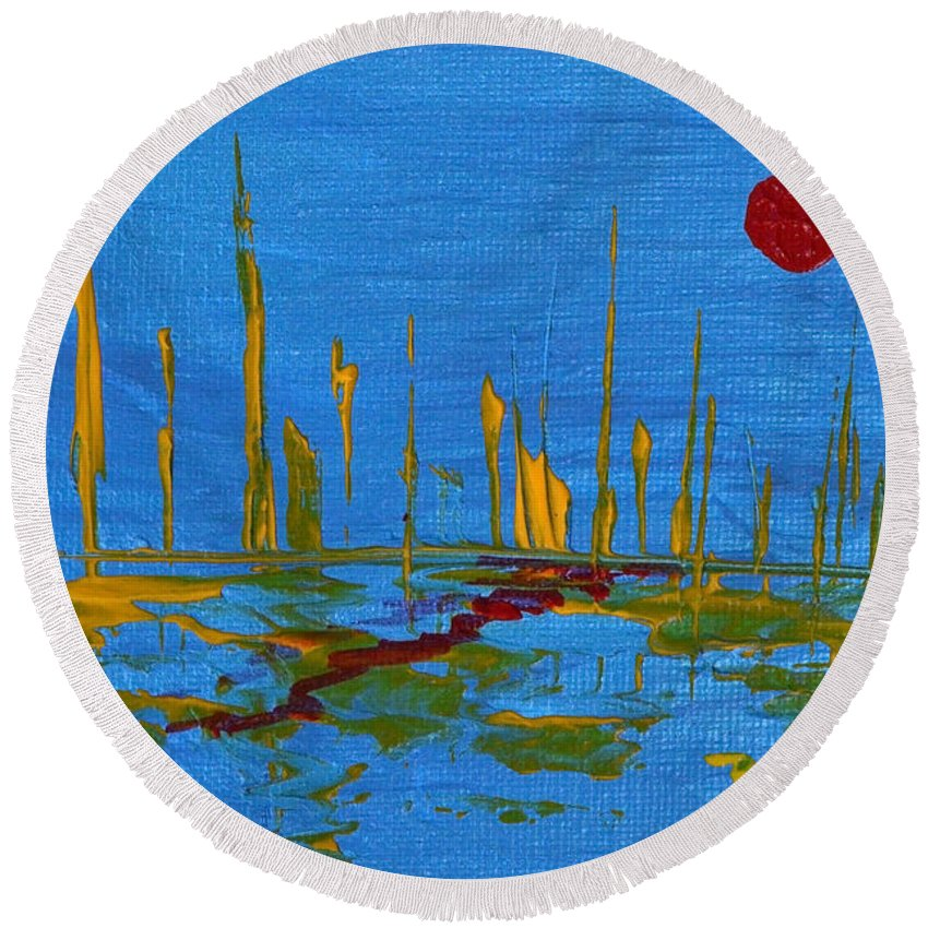 Modern Round Beach Towel featuring the painting Valley Of The Red Moon by Donna Blackhall
