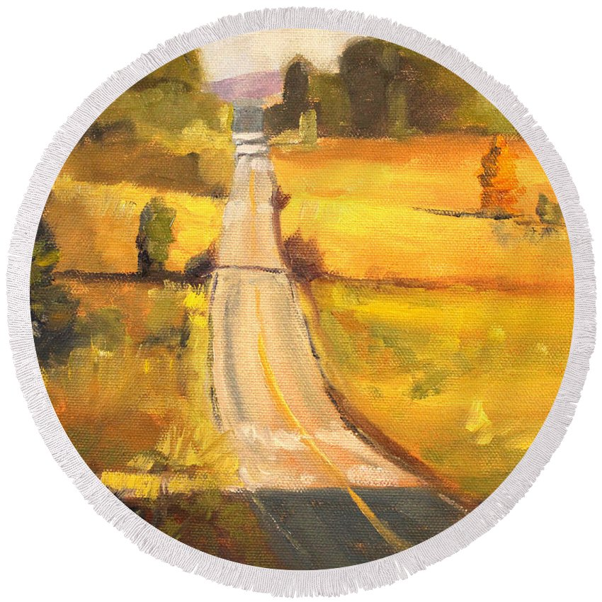 Oregon Round Beach Towel featuring the painting Valley Road by Nancy Merkle